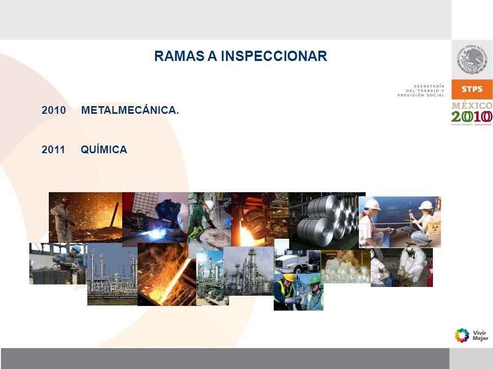 RAMAS A INSPECCIONAR 2010 METALMECÁNICA. 2011 QUÍMICA