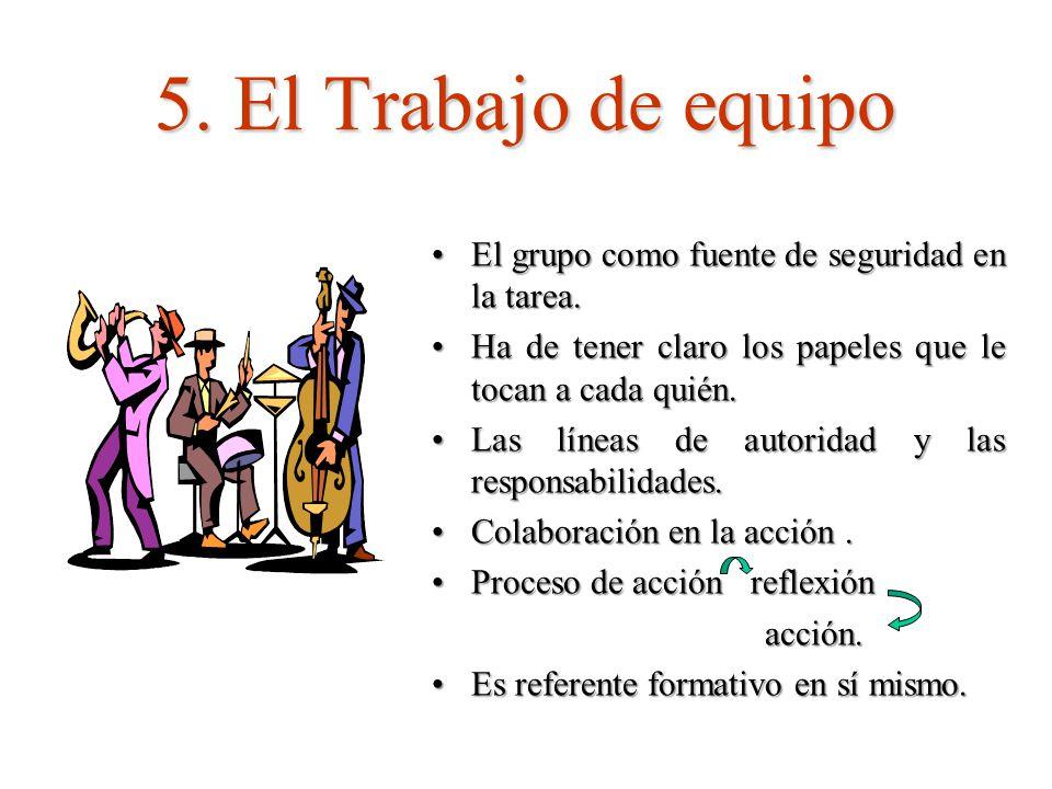 5. El Trabajo de equipo El grupo como fuente de seguridad en la tarea.