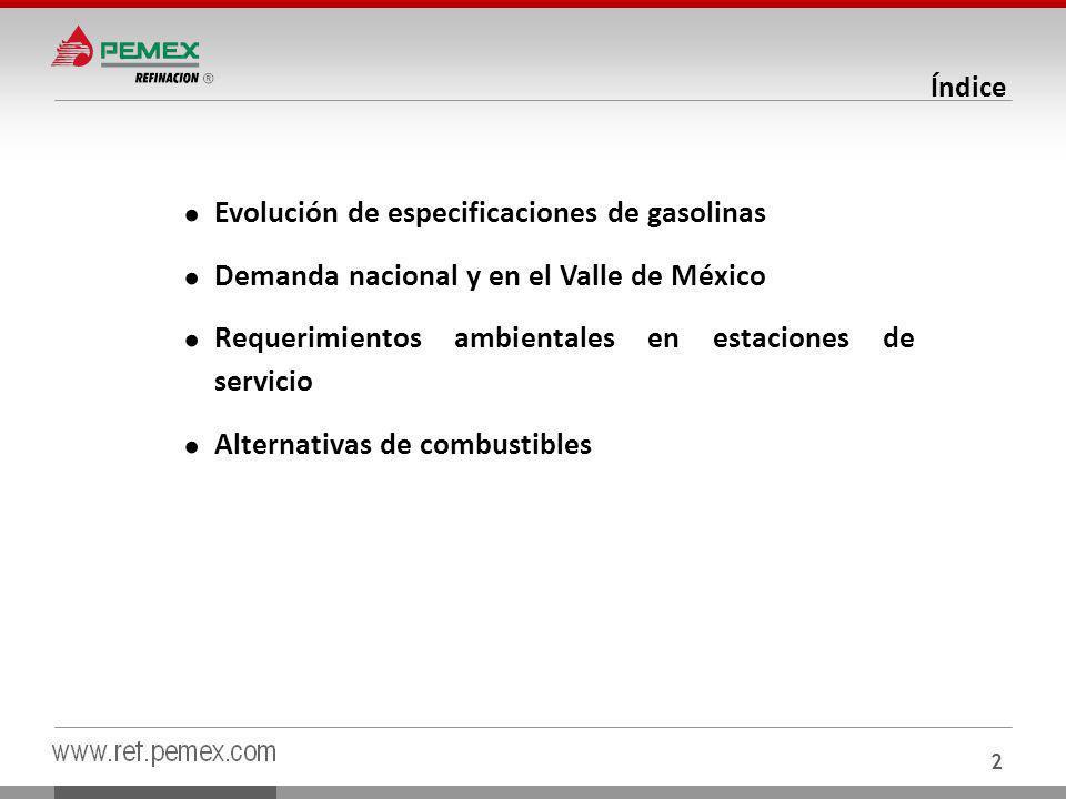 Evolución de especificaciones de gasolinas