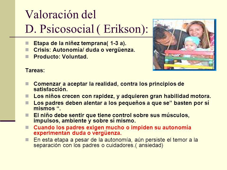 Valoración del D. Psicosocial ( Erikson):