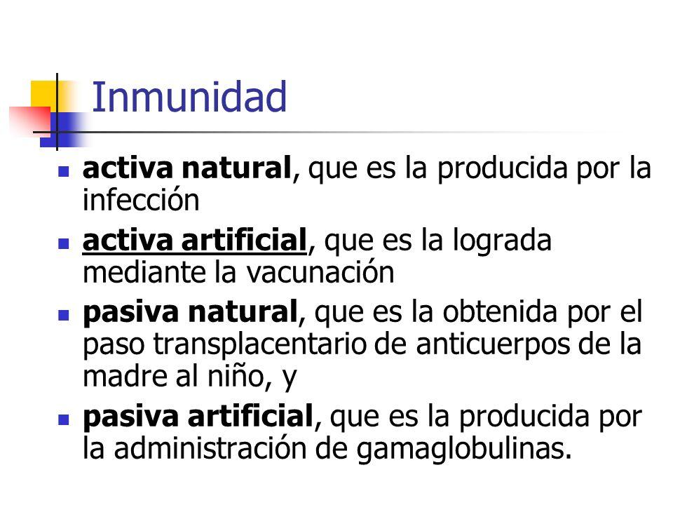 Inmunidad activa natural, que es la producida por la infección
