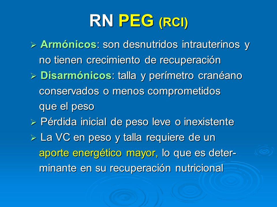 RN PEG (RCI) Armónicos: son desnutridos intrauterinos y