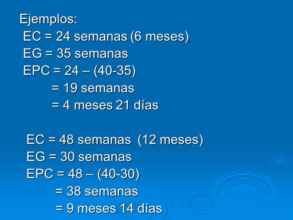 Ejemplos: EC = 24 semanas (6 meses) EG = 35 semanas. EPC = 24 – (40-35) = 19 semanas. = 4 meses 21 días.