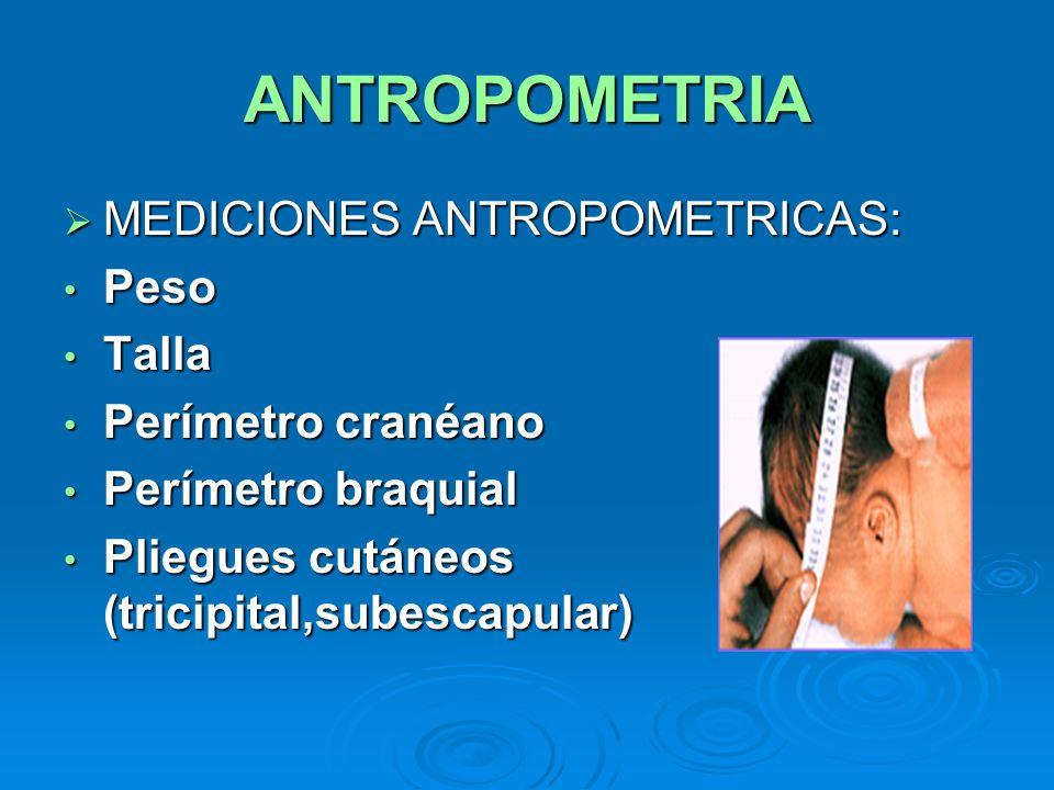 ANTROPOMETRIA MEDICIONES ANTROPOMETRICAS: Peso Talla