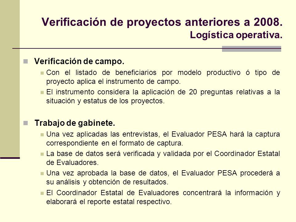 Verificación de proyectos anteriores a 2008. Logística operativa.