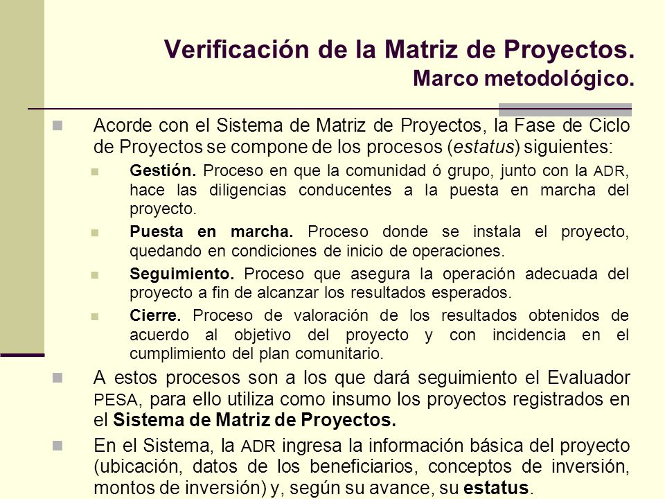 Verificación de la Matriz de Proyectos. Marco metodológico.