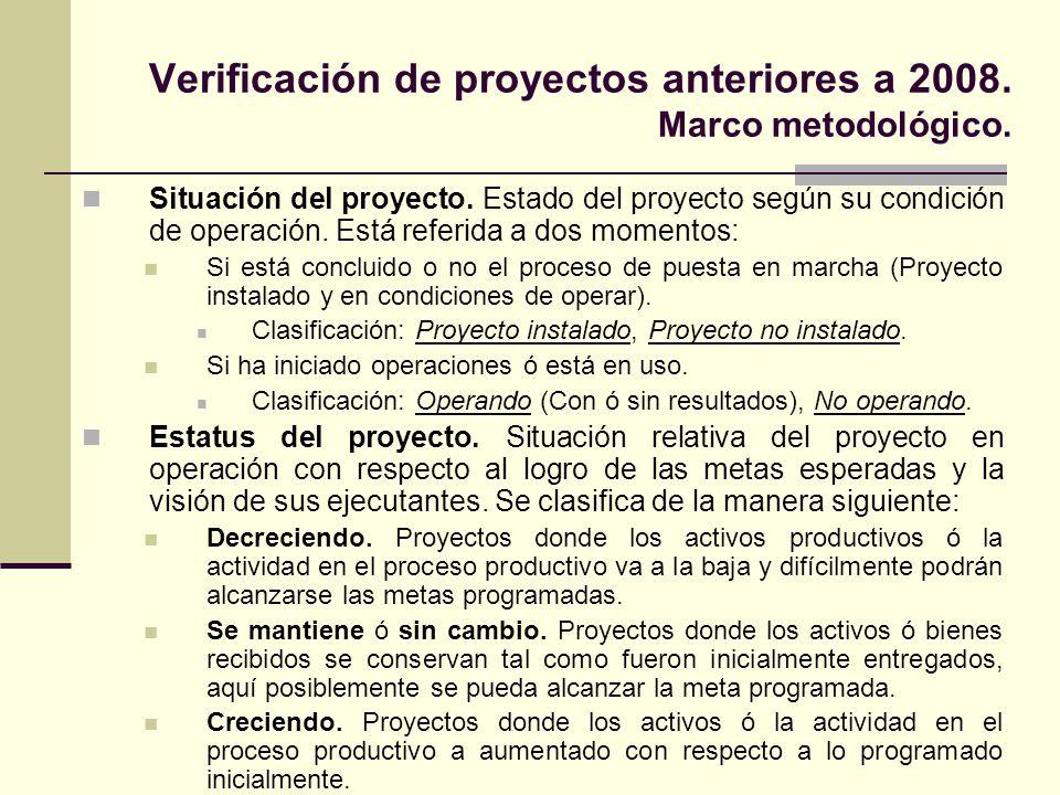 Verificación de proyectos anteriores a 2008. Marco metodológico.