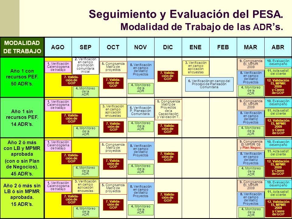 Seguimiento y Evaluación del PESA. Modalidad de Trabajo de las ADR's.