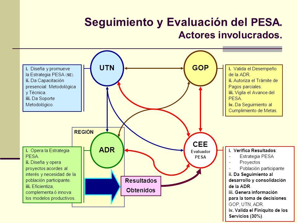 Seguimiento y Evaluación del PESA. Actores involucrados.