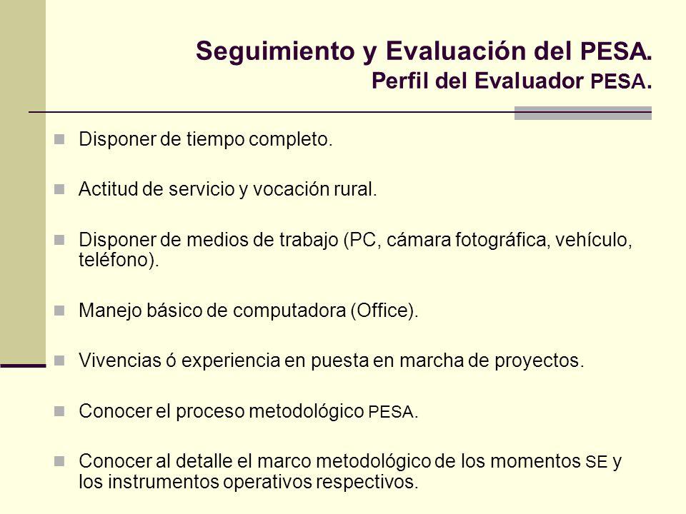 Seguimiento y Evaluación del PESA. Perfil del Evaluador PESA.