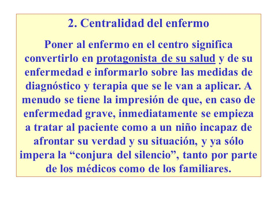 2. Centralidad del enfermo