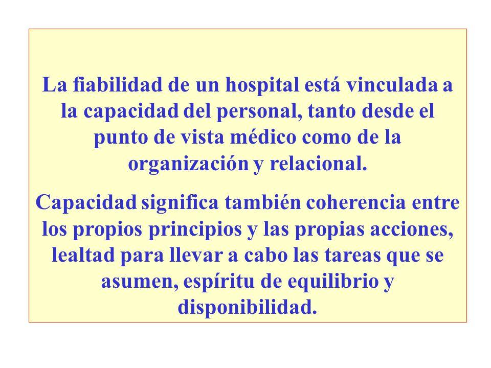 La fiabilidad de un hospital está vinculada a la capacidad del personal, tanto desde el punto de vista médico como de la organización y relacional.