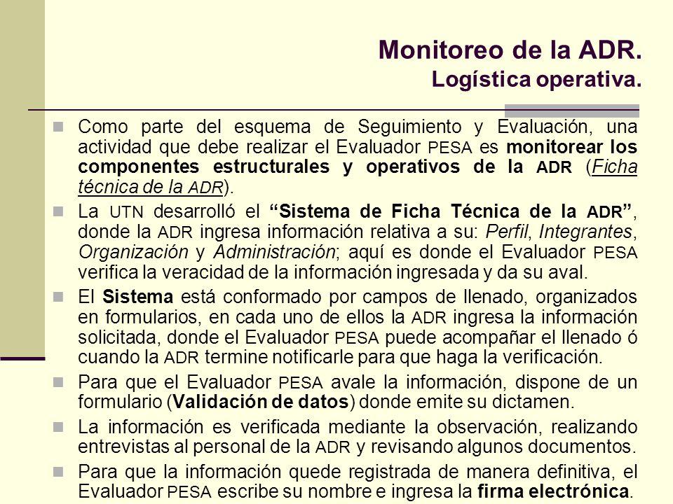 Monitoreo de la ADR. Logística operativa.