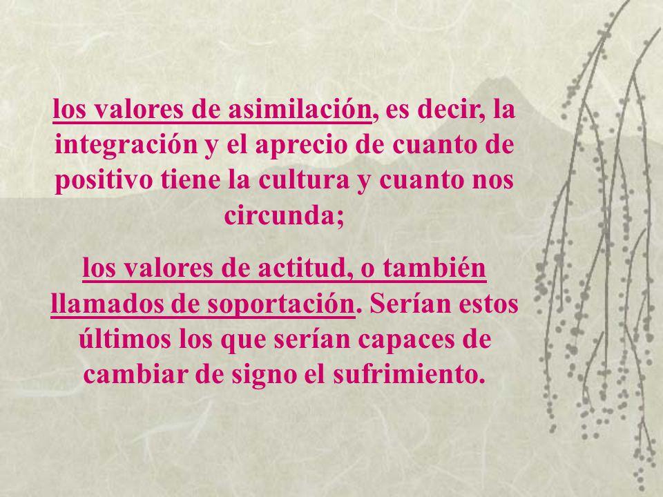 los valores de asimilación, es decir, la integración y el aprecio de cuanto de positivo tiene la cultura y cuanto nos circunda;