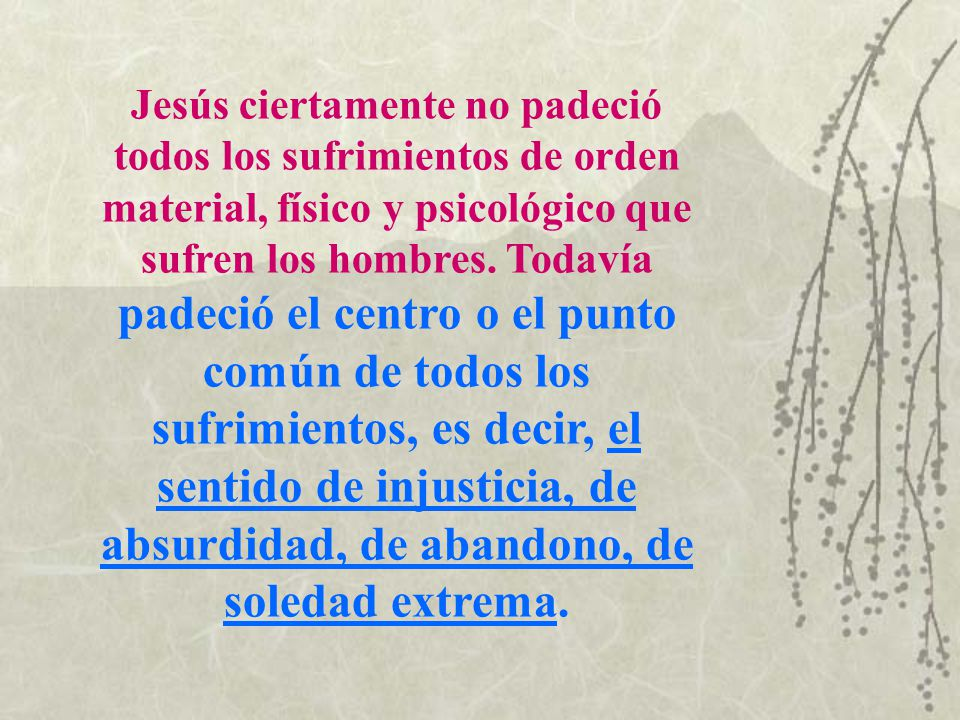 Jesús ciertamente no padeció todos los sufrimientos de orden material, físico y psicológico que sufren los hombres.