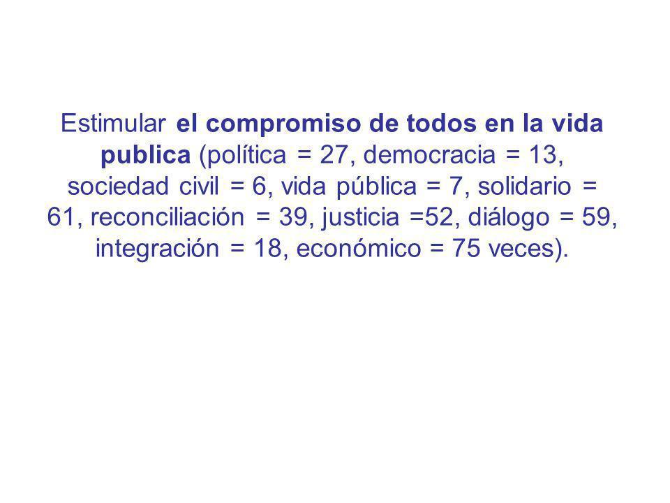 Estimular el compromiso de todos en la vida publica (política = 27, democracia = 13, sociedad civil = 6, vida pública = 7, solidario = 61, reconciliación = 39, justicia =52, diálogo = 59, integración = 18, económico = 75 veces).
