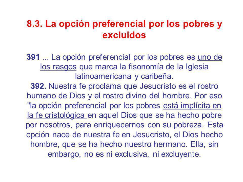 8.3. La opción preferencial por los pobres y excluidos
