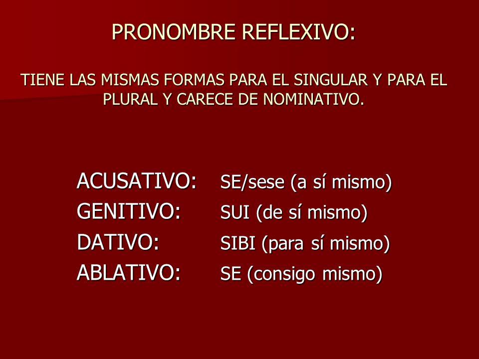 PRONOMBRE REFLEXIVO: TIENE LAS MISMAS FORMAS PARA EL SINGULAR Y PARA EL PLURAL Y CARECE DE NOMINATIVO.