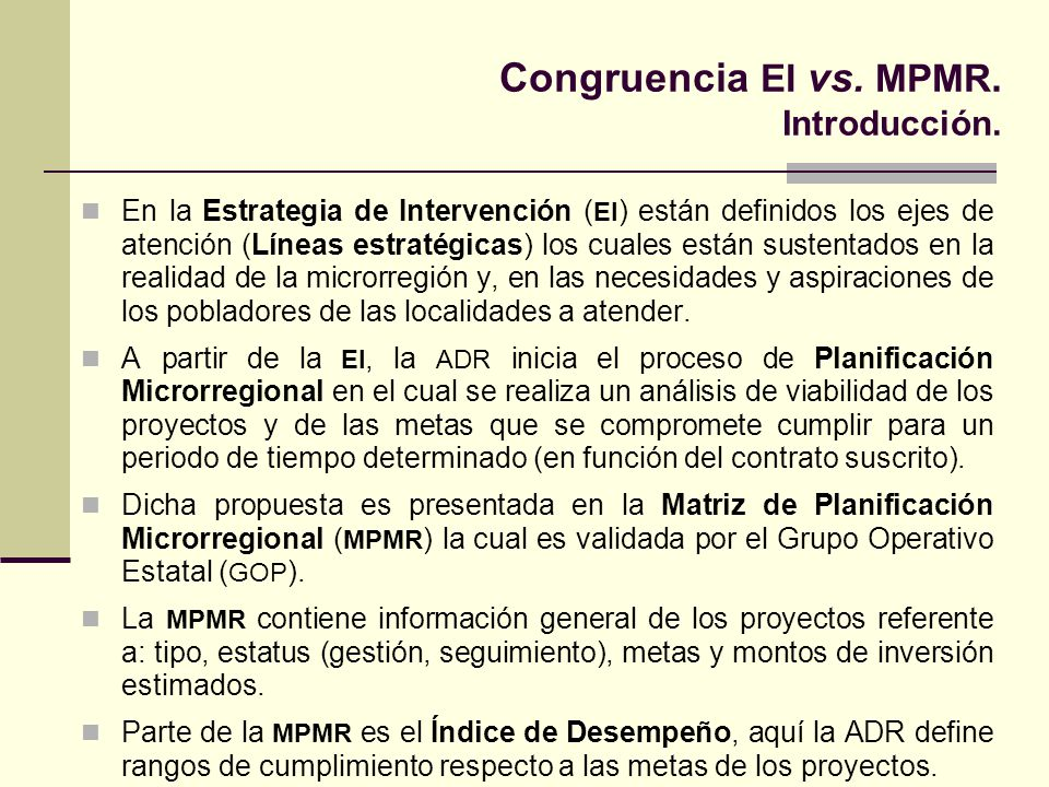 Congruencia EI vs. MPMR. Introducción.