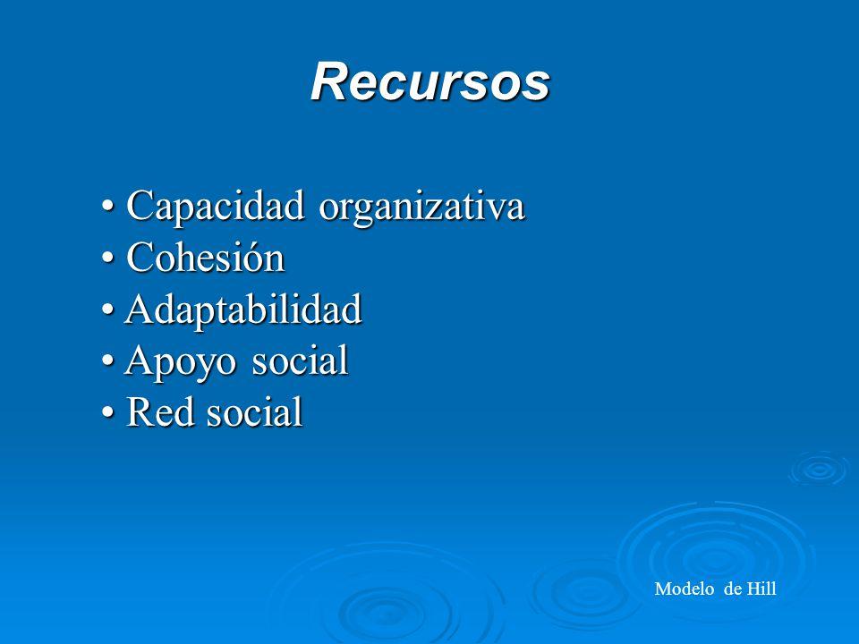 Recursos Capacidad organizativa Cohesión Adaptabilidad Apoyo social