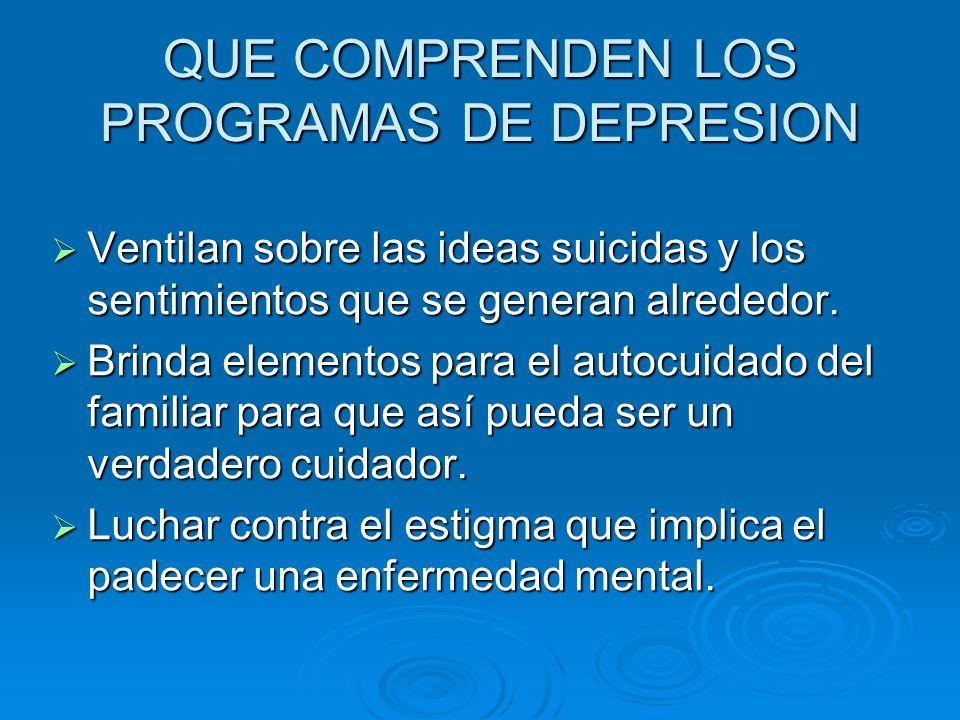 QUE COMPRENDEN LOS PROGRAMAS DE DEPRESION