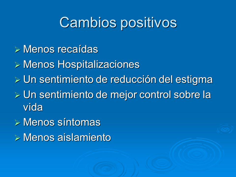 Cambios positivos Menos recaídas Menos Hospitalizaciones