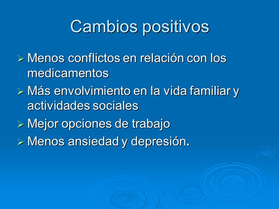 Cambios positivos Menos conflictos en relación con los medicamentos