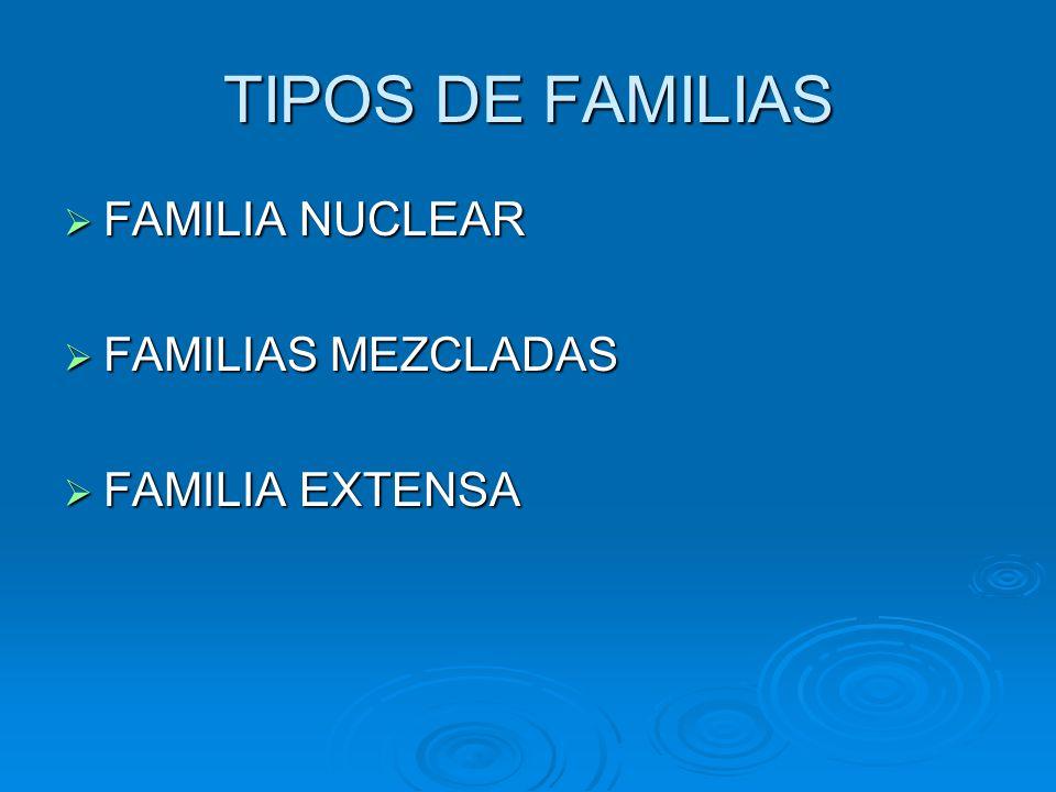 TIPOS DE FAMILIAS FAMILIA NUCLEAR FAMILIAS MEZCLADAS FAMILIA EXTENSA