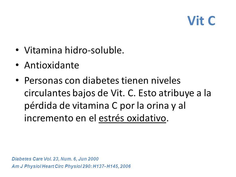 Vit C Vitamina hidro-soluble. Antioxidante