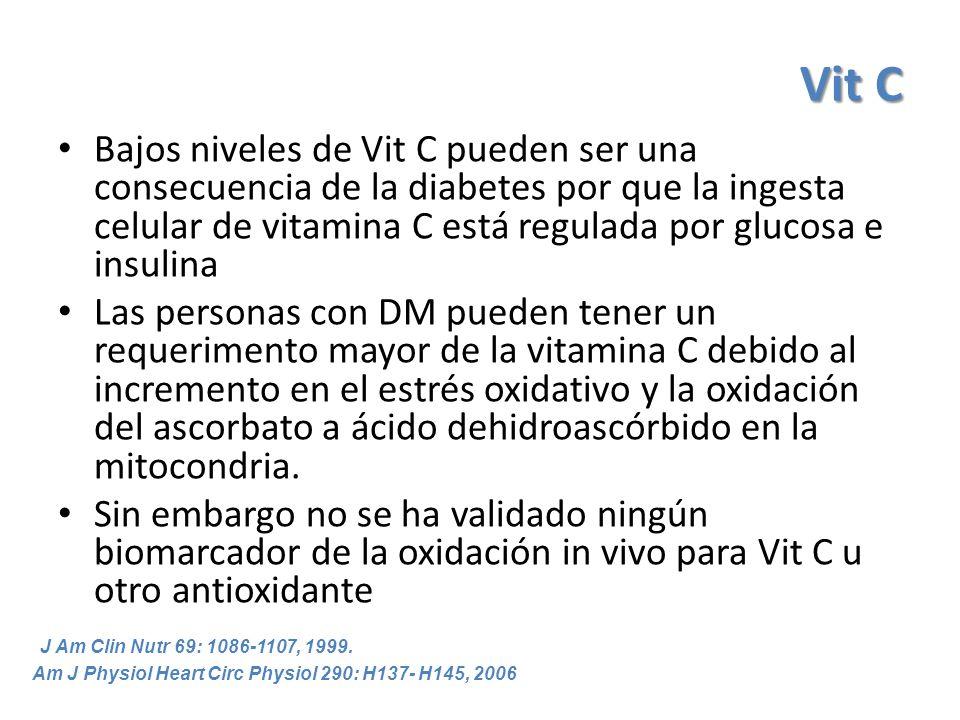 Vit C Bajos niveles de Vit C pueden ser una consecuencia de la diabetes por que la ingesta celular de vitamina C está regulada por glucosa e insulina.