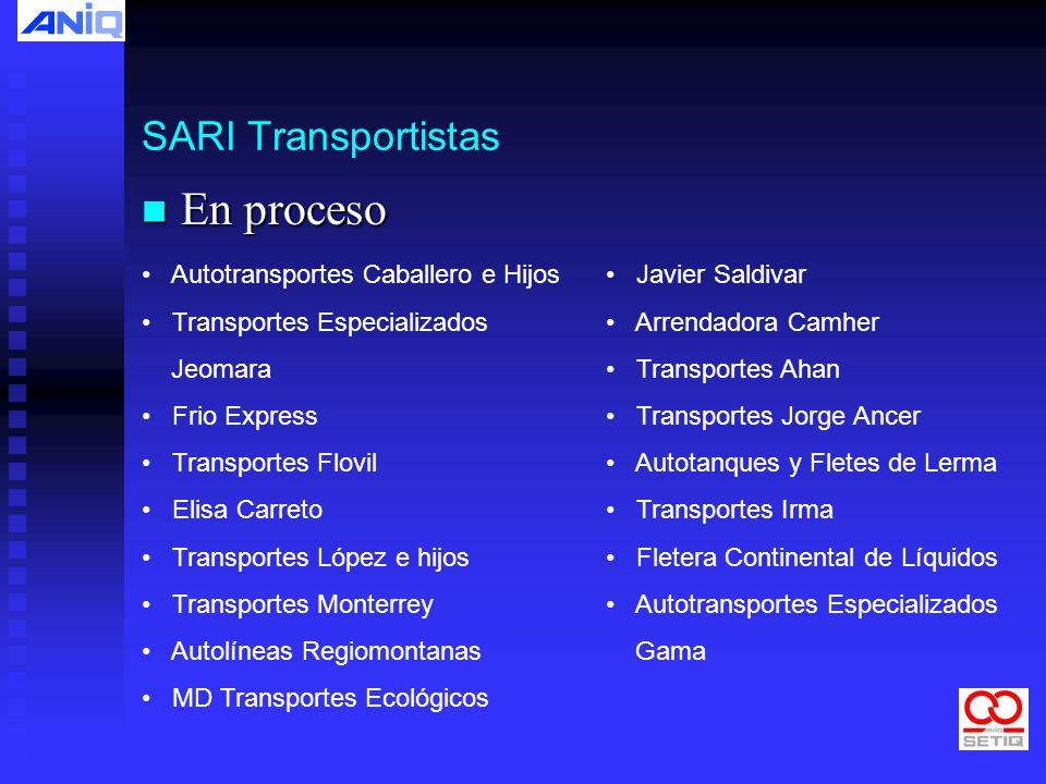 En proceso SARI Transportistas Autotransportes Caballero e Hijos