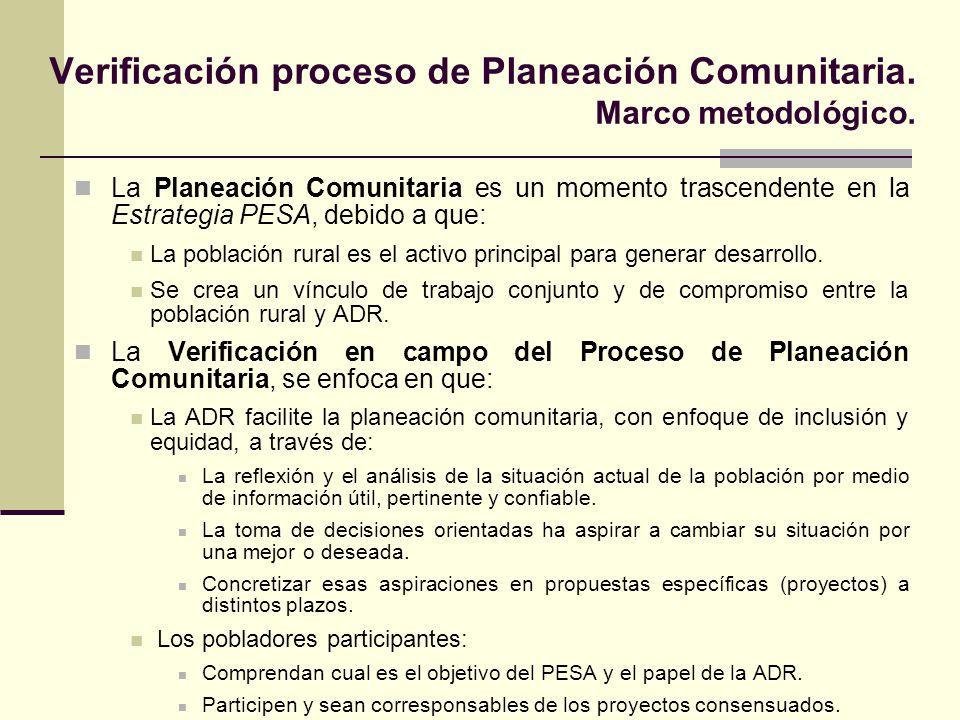 Verificación proceso de Planeación Comunitaria. Marco metodológico.