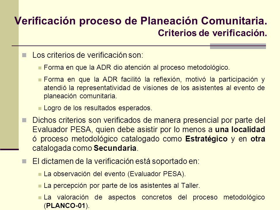 Verificación proceso de Planeación Comunitaria