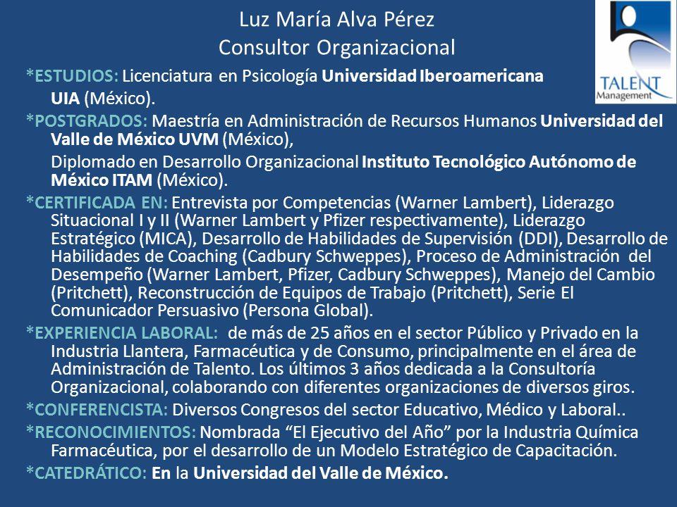 Luz María Alva Pérez Consultor Organizacional