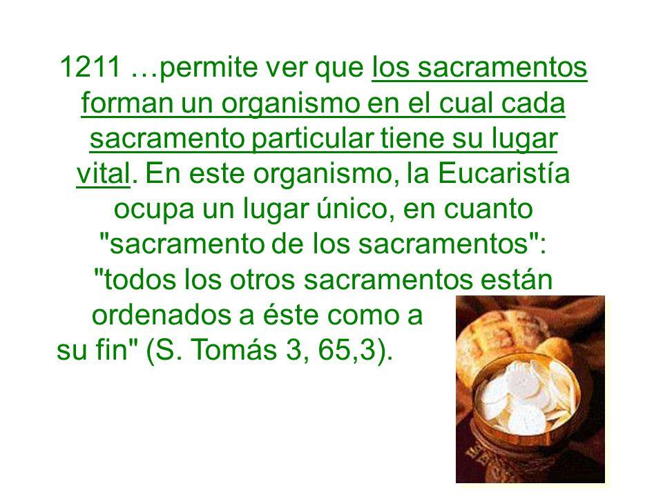 1211 …permite ver que los sacramentos forman un organismo en el cual cada sacramento particular tiene su lugar vital. En este organismo, la Eucaristía ocupa un lugar único, en cuanto sacramento de los sacramentos : todos los otros sacramentos están ordenados a éste como a