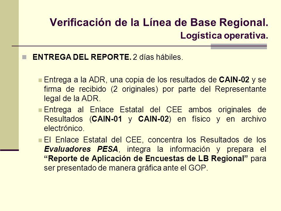 Verificación de la Línea de Base Regional. Logística operativa.