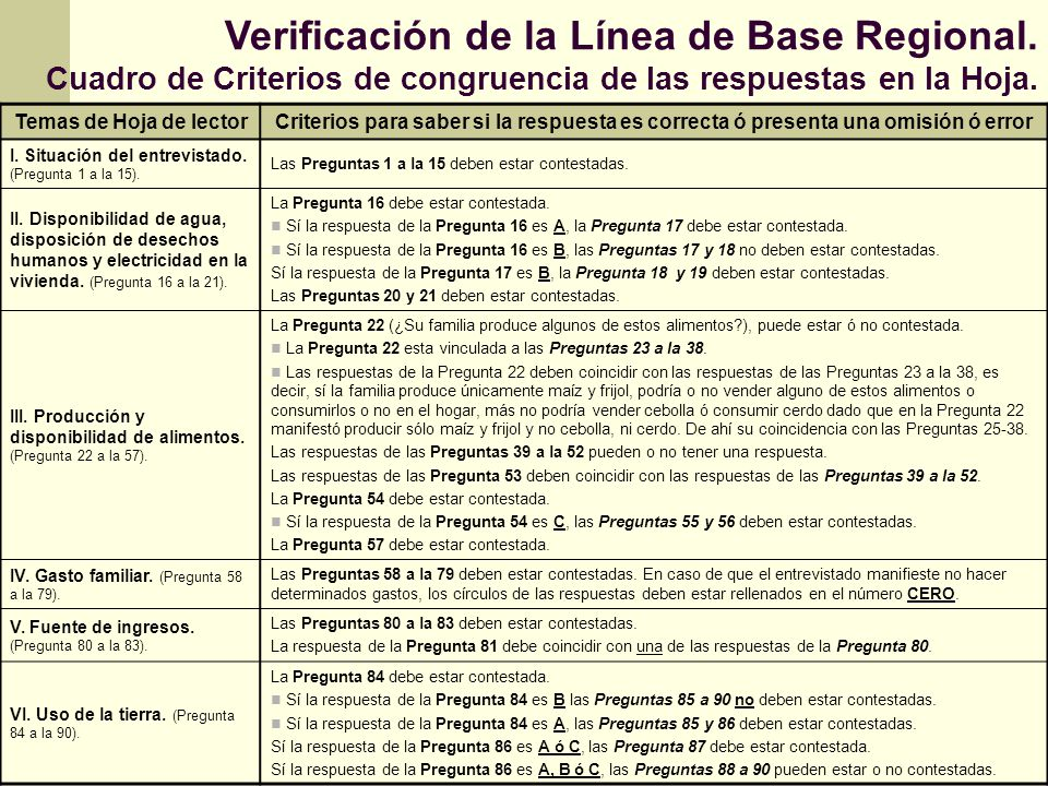 Verificación de la Línea de Base Regional