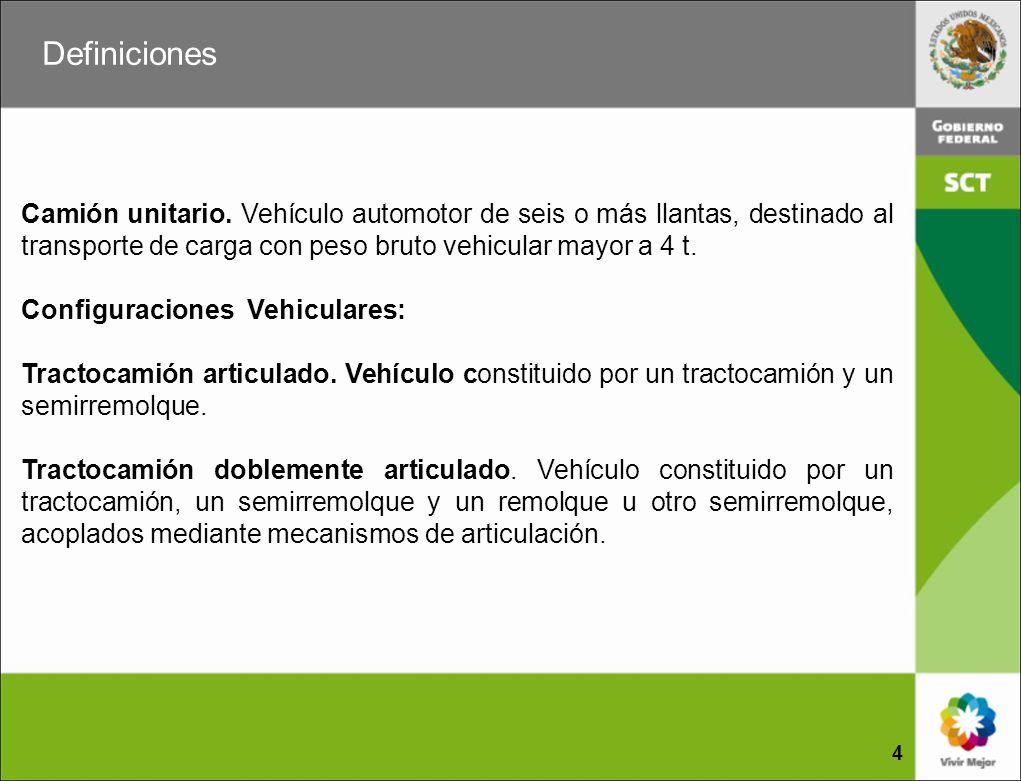 Definiciones Camión unitario. Vehículo automotor de seis o más llantas, destinado al transporte de carga con peso bruto vehicular mayor a 4 t.