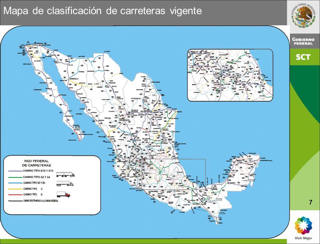 Mapa de clasificación de carreteras vigente