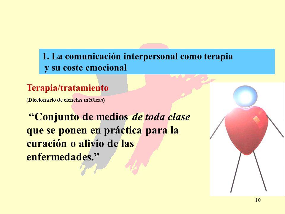 1. La comunicación interpersonal como terapia y su coste emocional