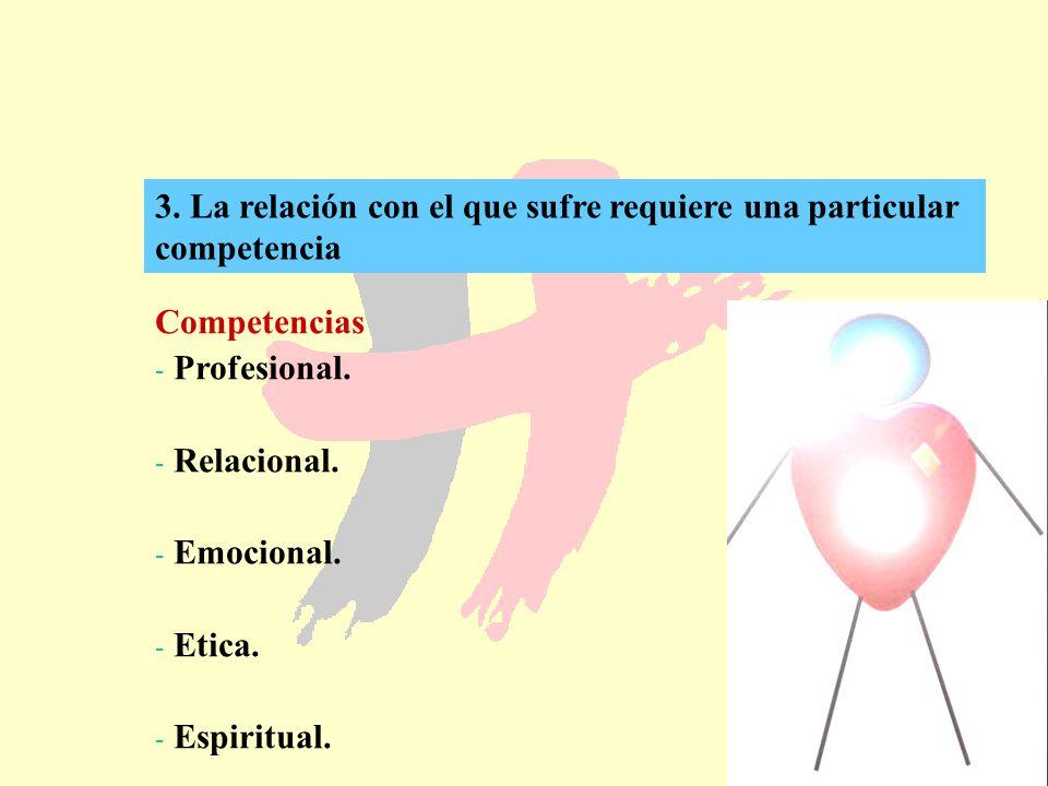 3. La relación con el que sufre requiere una particular competencia
