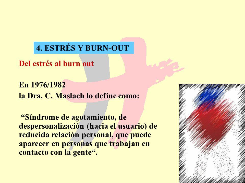 4. ESTRÉS Y BURN-OUT Del estrés al burn out. En 1976/1982. la Dra. C. Maslach lo define como: