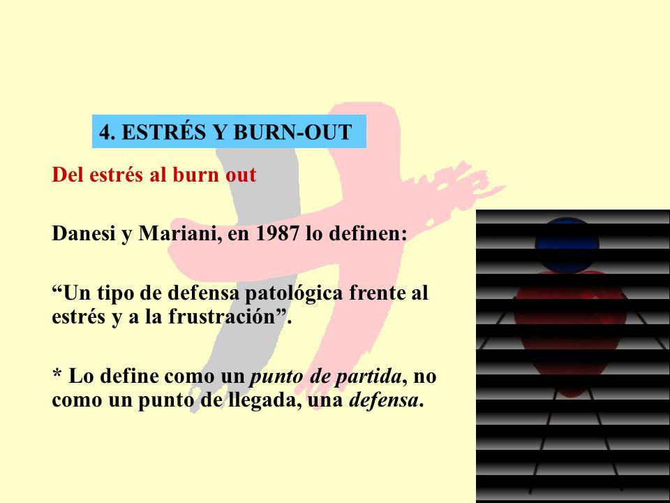4. ESTRÉS Y BURN-OUT Del estrés al burn out. Danesi y Mariani, en 1987 lo definen: