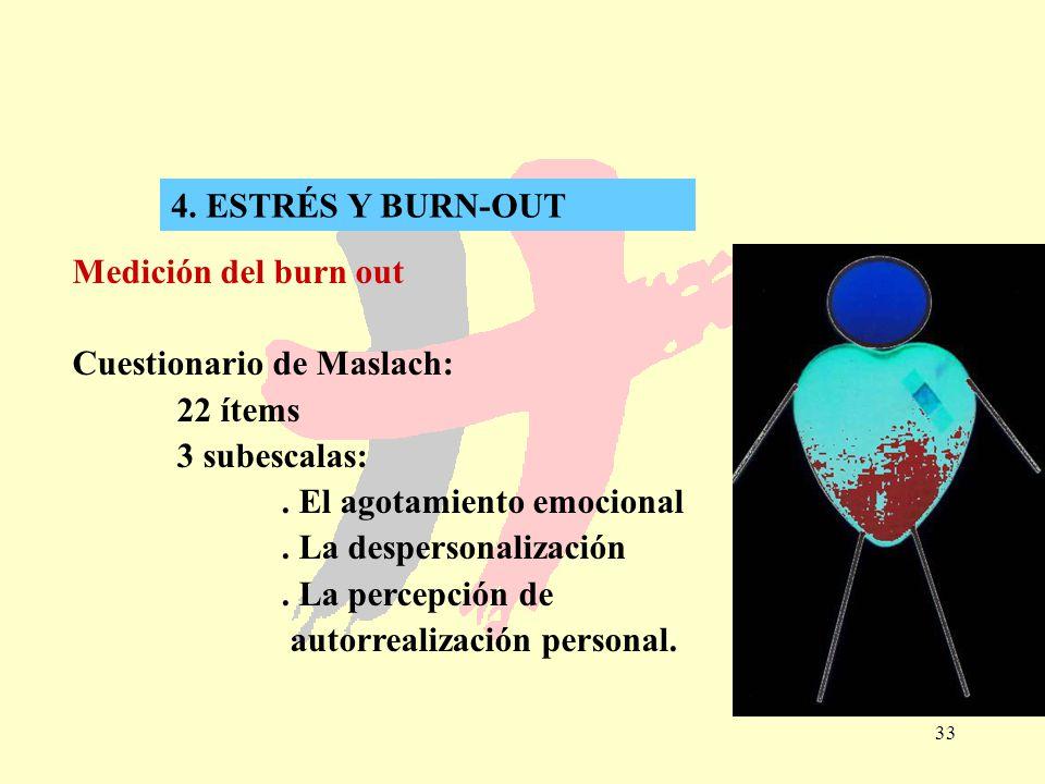 4. ESTRÉS Y BURN-OUT Medición del burn out. Cuestionario de Maslach: 22 ítems. 3 subescalas: . El agotamiento emocional.