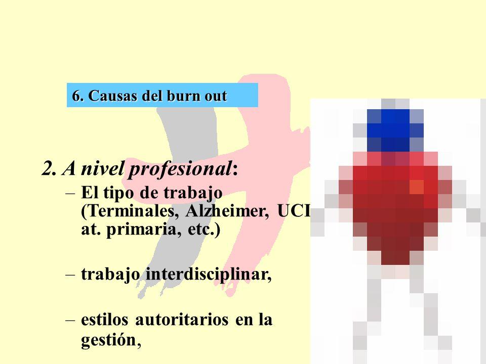 6. Causas del burn out 2. A nivel profesional: El tipo de trabajo (Terminales, Alzheimer, UCI, at. primaria, etc.)