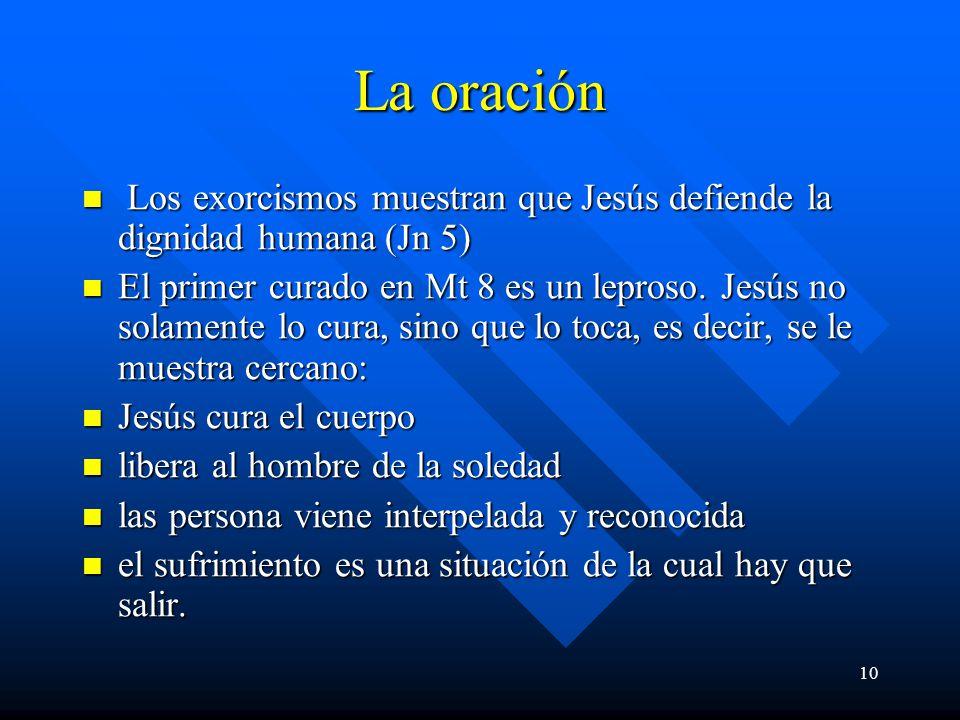 La oración Los exorcismos muestran que Jesús defiende la dignidad humana (Jn 5)