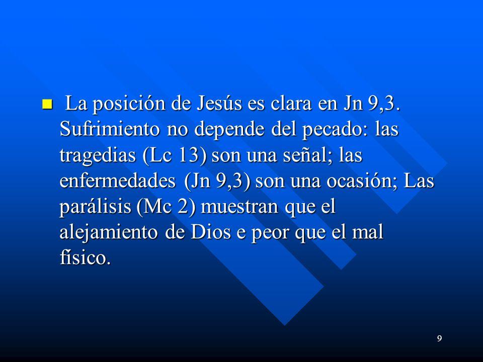 La posición de Jesús es clara en Jn 9,3