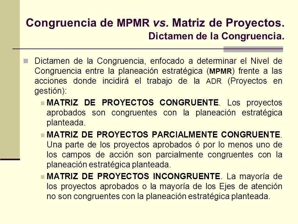 Congruencia de MPMR vs. Matriz de Proyectos. Dictamen de la Congruencia.