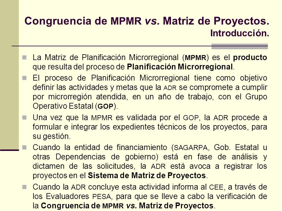 Congruencia de MPMR vs. Matriz de Proyectos. Introducción.
