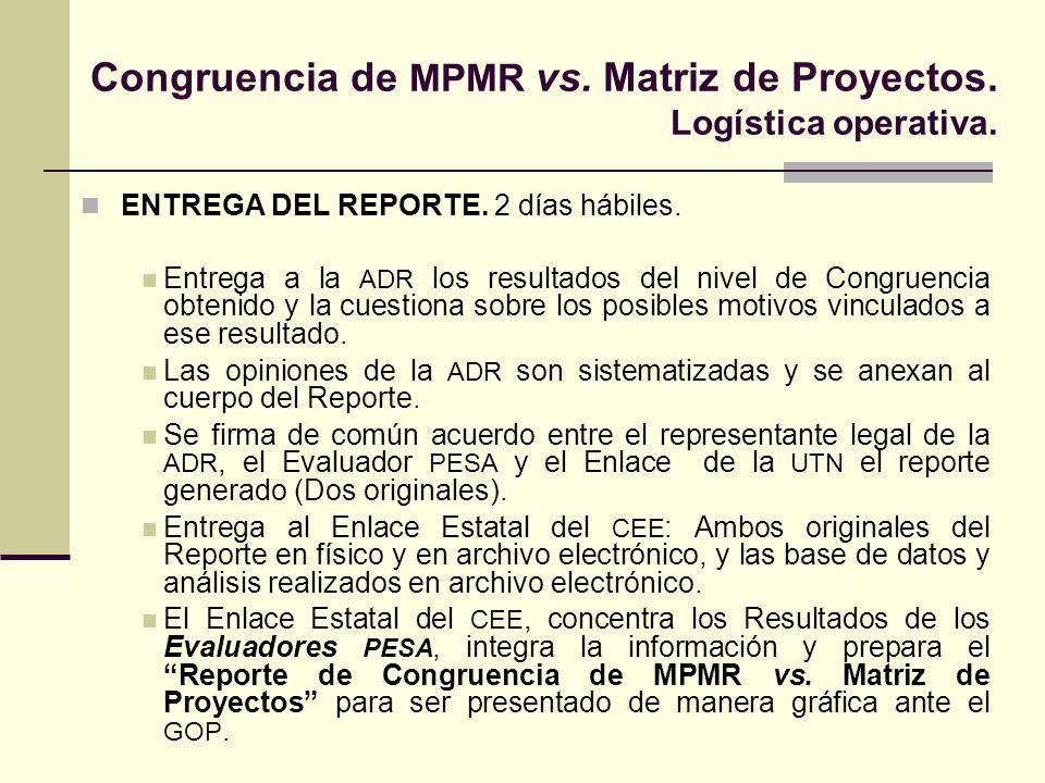 Congruencia de MPMR vs. Matriz de Proyectos. Logística operativa.